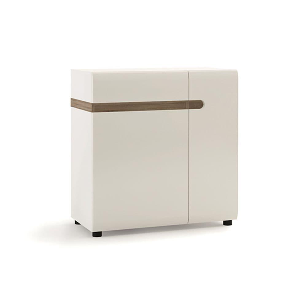 Brompton 1 Drawer 2 Door Sideboard 85cm wide in White with oak trim